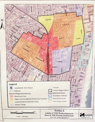 The immediate area around the Long Branch train station could be rezoned to accommodate a proposed transit village development if the City's application to the New Jersey Department of Transportation.