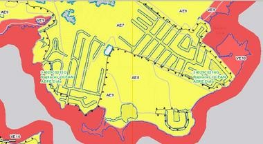 This screenshot shows the revised federal flood maps for the Shore Acres section of Brick Township. FEMA officially released the updated maps for Atlantic, Hudson, Monmouth and Ocean on Monday.