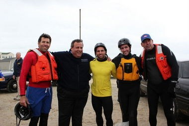 Gov. Chris Christie visited Belmar on Oct. 30, 2012, right after Hurricane Sandy struck the state. Chrisite is pictured with some members of the Belmar Water Rescue Team.