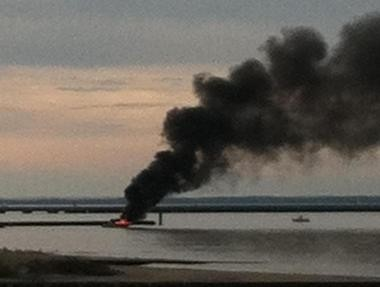 A boat caught fire this evening at the Leonardo State Marina in Middletown.
