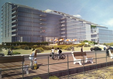 An artist's conceptual rendering of what the new Sea View Towers will look like on the Long Branch beachfront.
