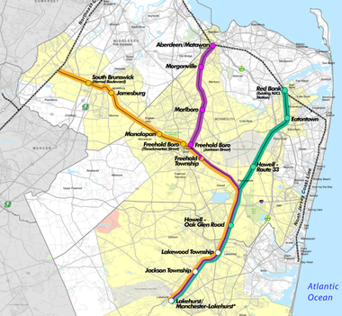 A proposed Monmouth-Ocean-Middlesex rail line would take pressure off the busy Rte. 9 corridor, supporters say, but without the political will to fund the line, its construction appears unlikely.