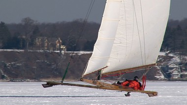 Fred Filippone of Oceanport pilots his ice boat across the Navesink River in Red Bank. Filippone is a member of the North Shrewsbury Ice Boat and Yacht Club founded in 1880.