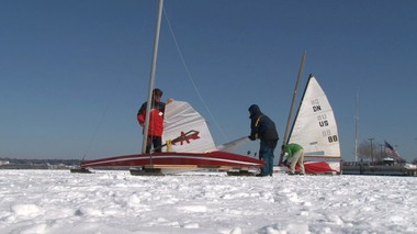Members of the North Shrewsbury Ice Boat and Yacht Club in Red Bank rig their ice boats before heading out for a sail on the Navesink River.