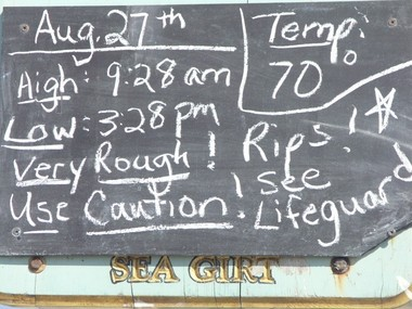 A sign posted at the beach in Sea Girt warns of dangerous rip currents