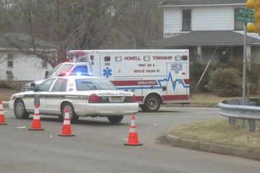 Emergency vehicles at the scene of the hit-and-run crash in Howell in 2014 that killed Charles McHugh of Spring Lake. (File photo)