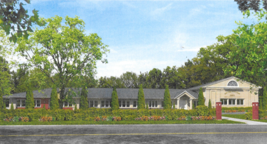 An architectural rendering of what the new Yeshiva would look like.