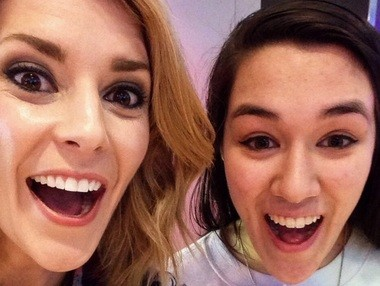 Sarah Stern, right, with YouTube star Grace Helbig.