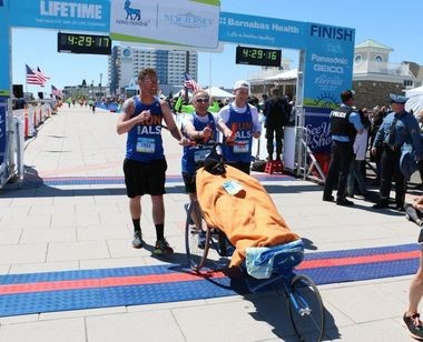 For the fourth consecutive year, Chris Benyo ran the marathon with his wife Denise DiMarzo, who was diagnosed with ALS in 2010. DiMarzo died in July 2016, according to published reports. (Rob Spahr | NJ Advance Media for NJ.com)