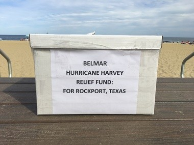 These collection boxes will be at beach entrances in Belmar, where beach and parking fees will be suspended on Labor Day