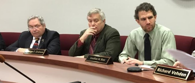 From left to right, Sussex County freeholders Carl Lazzaro, George Graham and Jonathan Rose at a meeting in 2017 (Rob Jennings / NJ Advance Media for NJ.com)