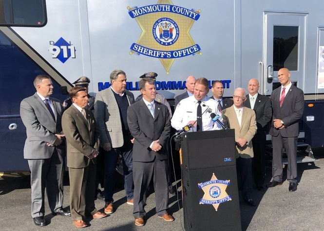 Monmouth County Sheriff Shaun Golden, flanked by local and county officials, announces his new Operation Watchdog program. (Alex Napoliello | NJ Advance Media for NJ.com)
