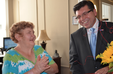 Assemblyman Anthony M. Bucco visited Morristown's Daily Plan-It, which teaches job skills to people with disabilities.