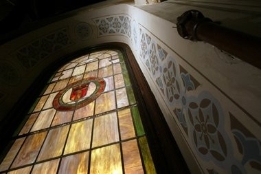 Stained-glass windows and hand-painted frescoes adorn the walls of the chapel in the Kirkbride Building at Greystone Park Psychiatric Hospital. A soon-to-be-released report by a consultant has concluded it would not be profitable to redevelop the building, which has been closed since 2008.
