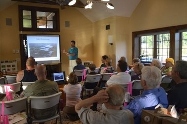 Chris Mikolajczyk of Princeton Hydo instructs 25 potential water scouts on water chestnut removal during a training session May 22 at the Lake Hopatcong Foundation's offices in the Lake Hopatcong section of Jefferson. Two more training sessions will be offered on June 28 and 29.