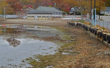 A view of Lee's County Park in Mount Arlington following the five-foot drawdown of Lake Hopatcong.