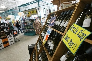 Discounted wines on display at the Bottle King store in Wayne.