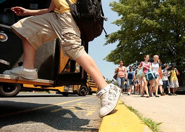 Students leave Long Valley Middle School in this file photo.