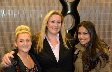 Boonton High School students Jessica Patterson, FBLA adviser Jody Oliveri and Carla Garcia at the Titan Competition.