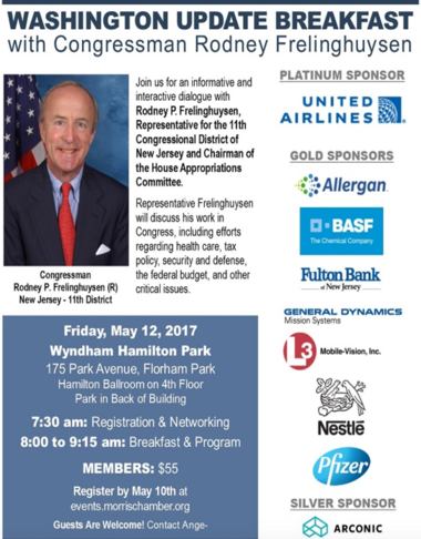 A screenshot of U.S. Rep. Rodney Frelinghuysen's planned breakfast for members of the Morris County Chamber of Commerce on May 12.