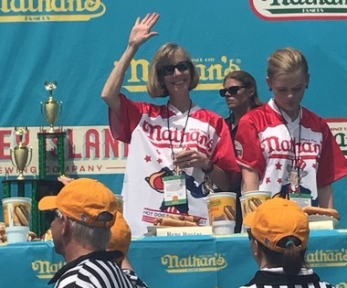 Rene Rovtar at the hot dog eating contest