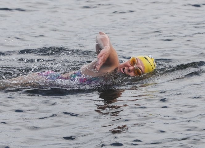 Bridgette Hobart-Janeczko has a small swim to get loose for Saturday when she will attempt to swim the perimeter of Lake Hopatcong, 28 miles, in Jefferson, NJ. Thursday, 06/28/2018