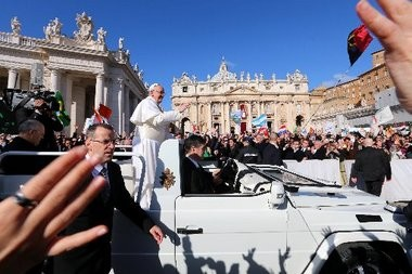Pope Francis arrives for his Inauguration Mass in St Peter's Square in Vatican City. A group of Caldwell College students are headed to Rome, where they will attend Sunday's papal blessing.