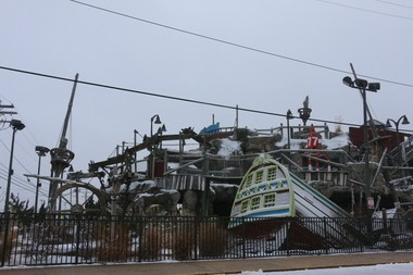 The miniature golf course at the boardwalk in Point Pleasant Beach gets a light coating of snow ahead of the impending blizzard. Officials are warning residents and motorists to take precautions.