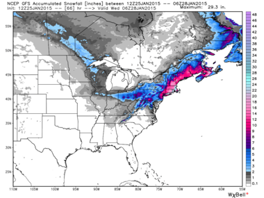 The GFS model's snowfall totals (this one from Sunday afternoon) will likely end up far closer to reality.