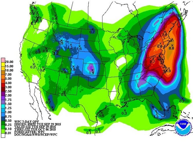 The seven-day rainfall forecast from the Weather Prediction Center, which is generally conservative, shows more than half a foot of rain falling in New Jersey over the next week.