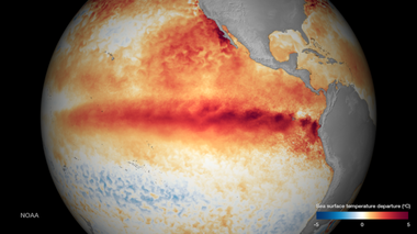 It's unclear what kind of impact the strong El Nino that has developed will have on New Jersey (NOAA)