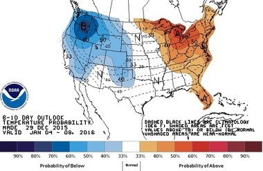 In its long-range outlook, the National Weather Service's Climate Prediction Center says temperatures in the New Jersey region will likely remain close to normal, and perhaps slightly above normal, in early January. (National Weather Service)