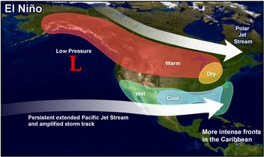 This map shows typical climate patterns for the United States during El Nino winters. (Climate Prediction Center   National Weather Service)