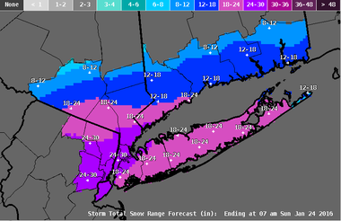 The latest snowfall forecast from the National Weather Service's Upton, NY office.