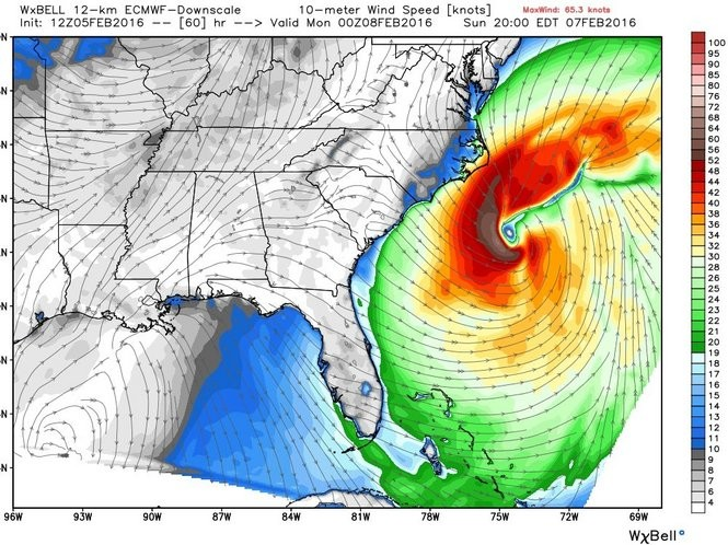 This image shows the intense strength of the winds that were predicted in the Atlantic Ocean for 7 p.m. Sunday. These wind speeds were predicted Friday morning, about 60 hours prior to Sunday evening. (WeatherBell)