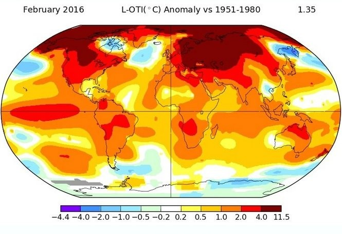 This map shows the temperature departures - how much higher or lower the temperatures were compared to normal - around the world in February 2016. (NASA)