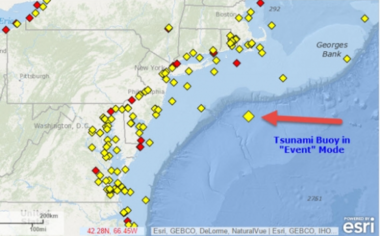 A map showing the location of the tsunami detection buoy off the coast of New Jersey. (SuperStation95.com)