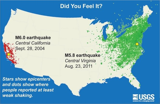 All of those green dots on this map are places where people felt the ground or buildings shake during the big earthquake that was centered in Virginia on Aug. 23, 2011. (U.S. Geological Survey)