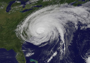 This is what Hurricane Irene looked like from space as the storm was barreling up the East Coast and getting ready to slam into New Jersey on Aug. 28, 2011. (NASA/NOAA)