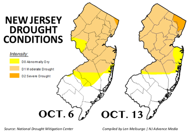 The latest drought map released by the National Drought Mitigation Center on Thursday, Oct. 13, shows all of Bergen County and a small piece of Passaic County now have severe drought conditions.