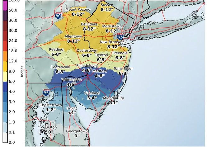 This map from the National Weather Service shows the agency's updated snow projections for most of New Jersey on Thursday. Counties in northeastern New Jersey are included in the map below. (National Weather Service)