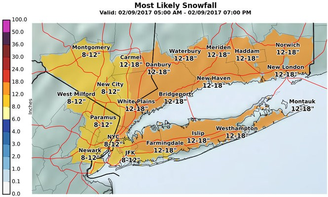 This map from the National Weather Service shows the agency's latest snow projections for northeastern counties in New Jersey, along with New York City and Long Island. (National Weather Service)