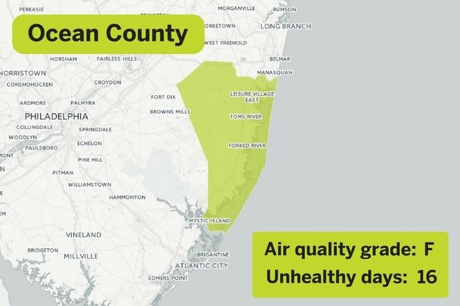 The 11 counties with the worst air pollution in N.J. - nj.com Ocean County Nj Map on hunterdon county, asbury park nj map, vista center nj map, burlington county, passaic county, spray beach nj map, monterey beach nj map, seaside heights map, lower township nj map, jackson nj map, morris county, musconetcong river nj map, toms river nj map, delran township nj map, greenwich township nj map, six flags great adventure nj map, mercer county, cape may nj map, toms river, swainton nj map, seaside park nj map, new brunswick, hudson county, middlesex county, west windsor township nj map, atlantic county, brick nj on map, bergen county, somerset county, cape may county, camden county, ny nj pa counties map, union county, palisades interstate parkway nj map, warren county, cumberland county, essex county, monmouth county,