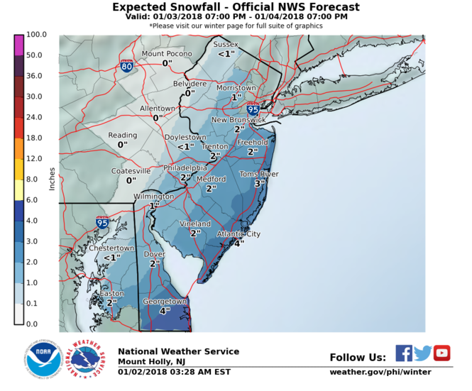 Coastal areas of New Jersey could receive up to 4 inches of snow from Wednesday night into Thursday, according to the National Weather Service. (National Weather Service)