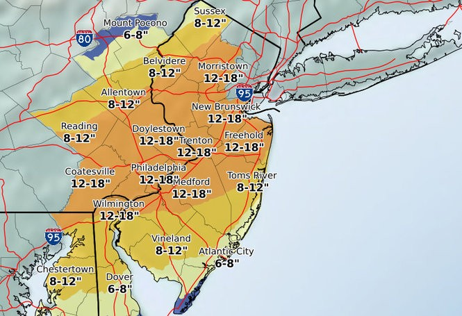 Here are the latest snowfall projections from the National Weather Service, issued Tuesday afternoon.