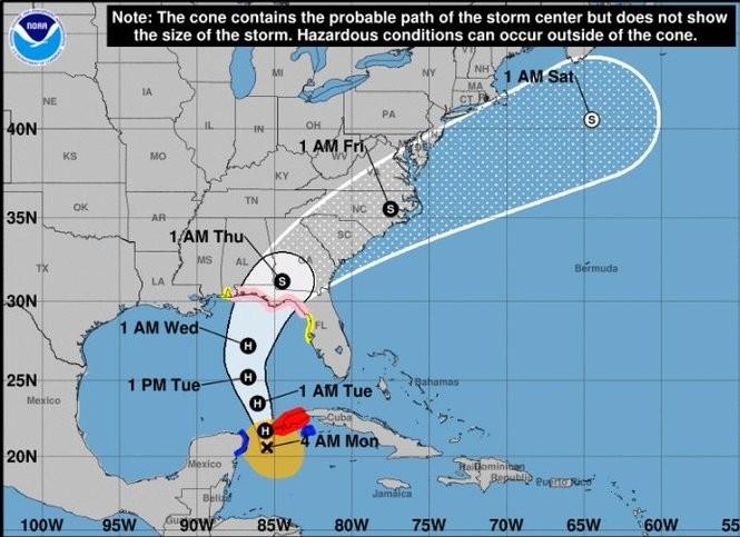 Tropical Storm Michael Strengthens Tracks Toward Us Landfall As - Us-hurricane-landfall-map