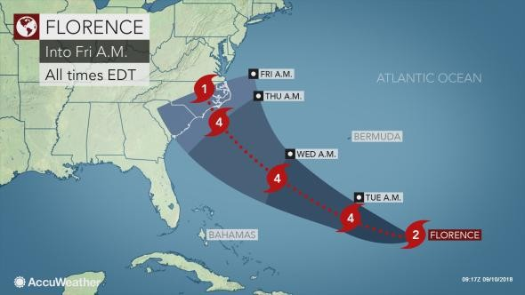 Hurricane Florence: Latest update on forecast track for East