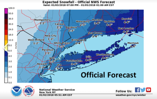 Northeastern New Jersey is expected to get 1-2 inches of snow on Thursday, forecasters say. (National Weather Service)