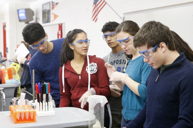 Students prepare to work on a lab during a biotechnology class at Morris County Academy for Math, Science and Engineering, located in Morris Hills High School in Rockaway on March 24, 2017. (Aristide Economopoulos | NJ Advance Media for NJ.com)