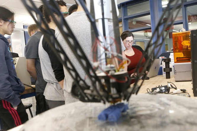 At Union County Magnet High School, a 3D printer works as teacher Jackie Gerstein speaks to students in her Advance Manufacturing class on March 3, 2017. The high school is one of a growing number of specialized high schools for the state's smartest students. The schools are run by New Jersey's vo-tech districts. (Aristide Economopoulos | NJ Advance Media for NJ.com)